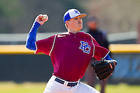 Presbyterian Blue Hose starting pitcher Bud Jeter (31) in action against the High Point Panthers at the Presbyterian College Baseball Complex on March 3, 2013 in Clinton, South Carolina.  The Blue Hose defeated the Panthers 4-1.  (Brian Westerholt/Four Seam Images)