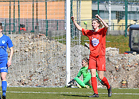Hanne Mylle of FC Femina White Star Woluwe celebrates after a goal during a female soccer game between FC Femina White Star Woluwe and KRC Genk on the 17 th matchday of the 2020 - 2021 season of Belgian Scooore Womens Super League , Saturday 20 th of March 2021  in Woluwe , Belgium . PHOTO SPORTPIX.BE | SPP | JILL DELSAUX