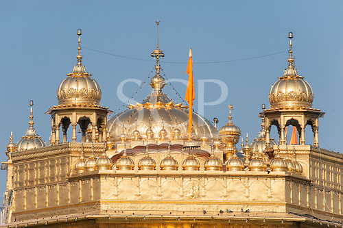 Amritsar, Punjab, India. The Golden Temple roof in gold.