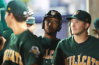Lynchburg Hillcats first baseman Bobby Bradley (44) high fives teammates in the dugout after hitting a home run during a game against the Wilmington Blue Rocks on June 3, 2016 at Judy Johnson Field at Daniel S. Frawley Stadium in Wilmington, Delaware.  Lynchburg defeated Wilmington 16-11 in ten innings.  (Mike Janes/Four Seam Images)
