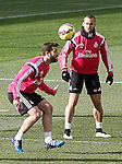 Real Madrid's Nacho Fernandez (l) and Jese Rodriguez during training session.January 30,2015.(ALTERPHOTOS/Acero)