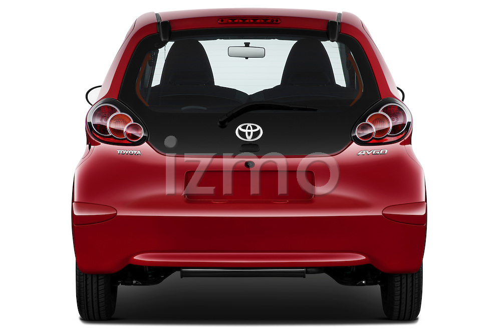 Straight rear view of a 2010 Toyota Aygo + 5 Door Microcar