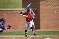Bryan Haberstroh (7) of the NJIT Highlanders at bat against the High Point Panthers at Williard Stadium on February 18, 2017 in High Point, North Carolina. The Panthers defeated the Highlanders 11-0 in game one of a double-header. (Brian Westerholt/Four Seam Images)