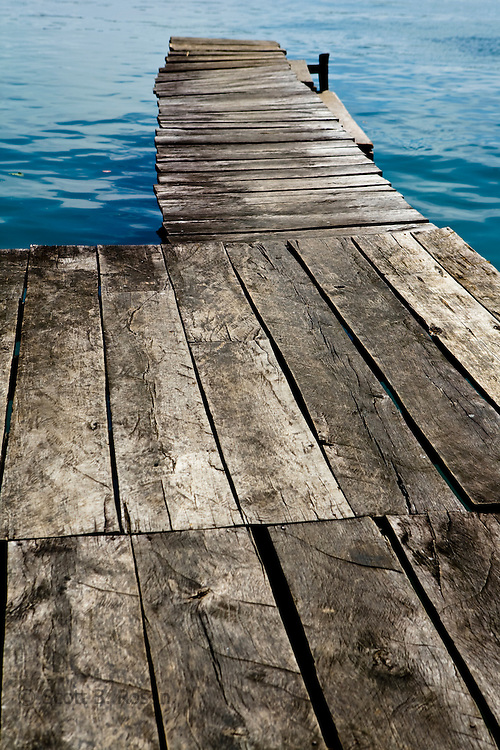 Wooden dock heading out over the Caribbean Sea, Old Bank, Isla Bastimentos, Bocas del Toro, Panama