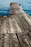 Wooden dock heading out over the Caribbean Sea, Old Bank, Isla Bastimentos, Bocas del Toro, Panama