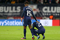 Ryan Sessegnon of Tottenham Hotspur consoles Lucas of Tottenham Hotspur after RB Leipzig vs Tottenham Hotspur, UEFA Champions League Football at the Red Bull Arena on 10th March 2020