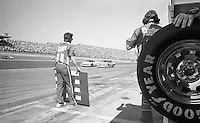 Tommy Ellis 18 Chevrolet pit stop pits Daytona 500 at Daytona International Speedway in Daytona Beach, FL in February 1986. (Photo by Brian Cleary/www.bcpix.com) Daytona 500, Daytona International Speedway, Daytona Beach, FL, February 16, 1986.  (Photo by Brian Cleary/www.bcpix.com)