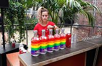 Nederland Amsterdam  -  Augustus 2018.  Westergasfabriek. Het eerste Vegan Food Festival. Bar met Absolut Wodka.   Foto mag niet in negatieve context gepubliceerd worden.   Foto Berlinda van Dam / Hollandse Hoogte