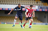 Joel Randall of Exeter City under pressure from Emile Acquah, Southend United during Southend United vs Exeter City, Sky Bet EFL League 2 Football at Roots Hall on 10th October 2020