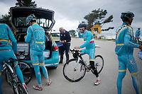 Italian Champion & 2014 Tour de France winner Vincenzo Nibali (ITA/Astana) & teammates during a trainingbreak on the Coll de Rates (Alicante, Spain) at the 2015 Astana winter training camp