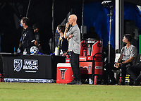 LAKE BUENA VISTA, FL - JULY 18: Head coach Bob Bradley looks on during a game between Los Angeles Galaxy and Los Angeles FC at ESPN Wide World of Sports on July 18, 2020 in Lake Buena Vista, Florida.
