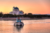 Sunset at the port of Skala in Agistri island, Greece