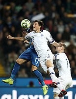 Football: Euro 2020 Group J qualifying football match Italy vs Finland at the Friuli Stadium in Udine on march  23, 2019<br /> Finland's Sauli Vaisanen (r) in action with Italy's Ciro Immobile (l) during the Euro 2020 qualifying football match between Italy and Finland at the Friuli Stadium in Udine, on march 23, 019<br /> UPDATE IMAGES PRESS/Isabella Bonotto