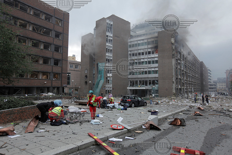 (July22,2010) A man is treated for injuries received after a large vehicle bomb was detonated near the offices of Norwegian Prime Minister Jens Stoltenberg on 22 July 2011. Although Stoltenberg was reportedly unharmed the blast resulted in several injuries and deaths. <br /> Another terrorist attack took place shortly afterwards, where a man killed over 80 children and youths attending a political camp at Utøya island. <br /> Anders Behring Breivik was arrested on the island and has admitted to carrying out both attacks.<br /> (photo:Fredrik Naumann/Felix Features)
