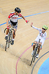 Ng Siu Yin of team SCAA (l) and Tam Sze Hang of team X SPEED (r) during the Elimination Open Final Track Cycling Race 2016-17 Series 3 at the Hong Kong Velodrome on February 4, 2017 in Hong Kong, China. Photo by Marcio Rodrigo Machado / Power Sport Images