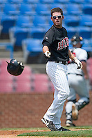 Winston-Salem third baseman Chris Kelly tosses his helmet after striking out to end the second inning versus the Salem Avalanche at Ernie Shore Field in Winston-Salem, NC, Wednesday, August 2, 2006.  The Warthogs shutout the Avalanche 6-0.