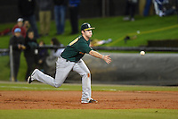Siena Saints infielder Brian Fay (28) flips the ball to first during the opening game of the season against the UCF Knights on February 13, 2015 at Jay Bergman Field in Orlando, Florida.  UCF defeated Siena 4-1.  (Mike Janes/Four Seam Images)