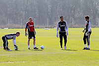 Pictured: Goalkeeper coach Adrian Tucker (2nd L) with goalkeepers L-R Gerhard Tremmel, Michel Vorm and Jose Moreira.  Friday, 23 March 2012<br /> Re: Swansea City FC training at LLandarcy, south Wales.