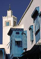 "Tunisia, Sidi Bou Said.  Minaret of the Mosque of Sidi Bou Said.  ""Harem Window"" in Foreground."
