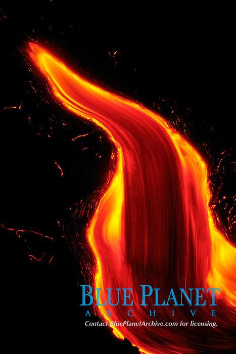 Lava pours into the sea, Waikupanaha ocean entry, Kilauea volcano, East of Hawaii, USA Volcanoes National Park, The Big Island of Hawaii, USA