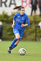 Gwen Duijsters (13) of KRC Genk with the ball during a female soccer game between Sporting Charleroi and KRC Genk on the 4 th matchday in play off 2 of the 2020 - 2021 season of Belgian Scooore Womens Super League , friday 30 th of April 2021  in Marcinelle , Belgium . PHOTO SPORTPIX.BE | SPP | Jill Delsaux