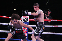 Boxers , Blair Cobbs, Las Vegas, NV and Carlos Ortiz, Mexico fight during their NABF Welterweight Title bout at the MGM Grand Garden on November 2, 2019 in Las Vegas, Nevada.  Cobbs won a 7th round TKO over Ortiz  Referee was Vic Drakulich. (Photo John Gurzinski/lasvegasphotography.com)