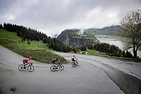 Michael Valgren (DEN/EF Education - Nippo), Martijn Tusveld (NED/DSM) & Lawson Craddock (USA/EF Education - Nippo) descending towards the Barrage de Roselend<br /> <br /> 73rd Critérium du Dauphiné 2021 (2.UWT)<br /> Stage 7 from Saint-Martin-le-Vinoux to La Plagne (171km)<br /> <br /> ©kramon