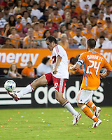 Chicago Fire midfielder Cuauhtemoc Blanco (10) gets past Houston Dynamo defender Wade Barrett (24).  Houston Dynamo defeated Chicago Fire 3-2  at Robertson Stadium in Houston, TX on August 9, 2009.