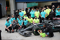 15th November 2020; Istanbul Park, Istanbul, Turkey; FIA Formula One World Championship 2020, Grand Prix of Turkey, Race Day;  Lewis Hamilton GB 44, Mercedes-AMG Petronas F1 Team, Valtteri Bottas FIN 77, Mercedes-AMG Petronas F1 Team with technical team and Team chief Toto Wolff Mercedes