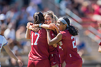 STANFORD, CA - SEPTEMBER 12: Amy Sayer, Katie Duong, and Nya Harrison during a game between Loyola Marymount University and Stanford University at Cagan Stadium on September 12, 2021 in Stanford, California.