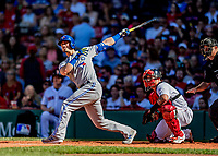22 June 2019: Toronto Blue Jays outfielder Randal Grichuk watches the trajectory of the ball after contact during the first inning against the Boston Red Sox at Fenway :Park in Boston, MA. The Blue Jays rallied to defeat the Red Sox 8-7 in the 2nd game of their 3-game series. Mandatory Credit: Ed Wolfstein Photo *** RAW (NEF) Image File Available ***
