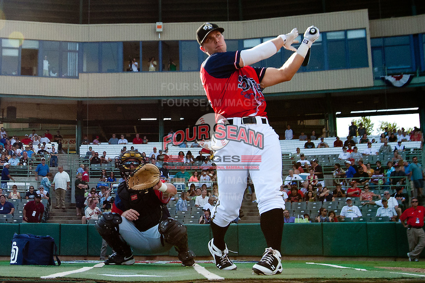 James Darnell (25) of the San Antonio Missions follows through his swing after crushing a pitch during the 2011 Texas League All-Star Home Run Derby at Nelson Wolff Stadium on June 29, 2011 in San Antonio, Texas. (David Welker / Four Seam Images)..