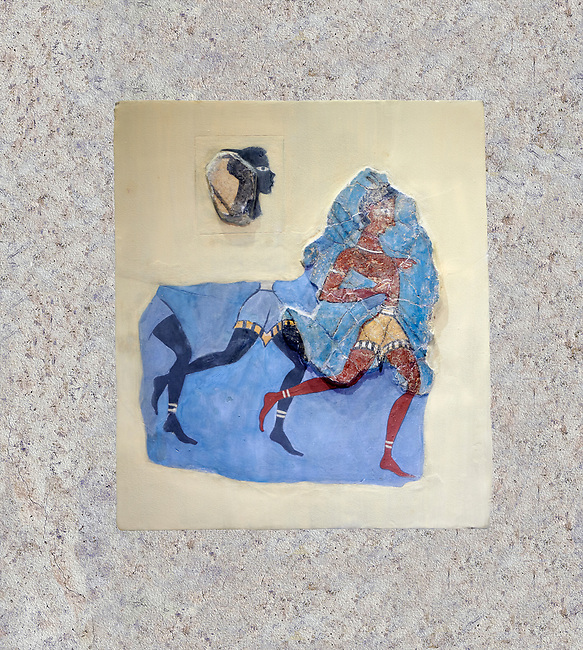 """The Minoan 'Black Captain' fresco wall art from the House of Frescoes, Knossos Palace, 1350-1300 BC . Heraklion Archaeological Museum.<br /> <br /> The fresco probably depicts a running military detachment, the leader is wearing a Minoan loin cloth and holds two spears, he has been named """"Captain of the Blacks"""" as those follwing him are probably black African soldiers in sercice of the palace<br /> <br /> This scene may be depicting an excersise or sport similar to the Greek Hoplite race"""