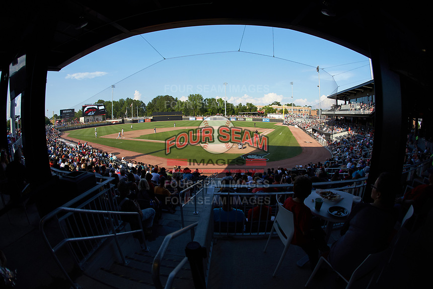 A wide angle view of SEGRA Stadium during the Carolina League game between the Carolina Mudcats and the Fayetteville Woodpeckers on May 18, 2019 in Fayetteville, North Carolina. The Mudcats defeated the Woodpeckers 6-4. (Brian Westerholt/Four Seam Images)
