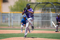 Colorado Rockies relief pitcher Derrik Watson (56) prepares to deliver a pitch during an Extended Spring Training game against the Chicago Cubs at Sloan Park on April 17, 2018 in Mesa, Arizona. (Zachary Lucy/Four Seam Images)