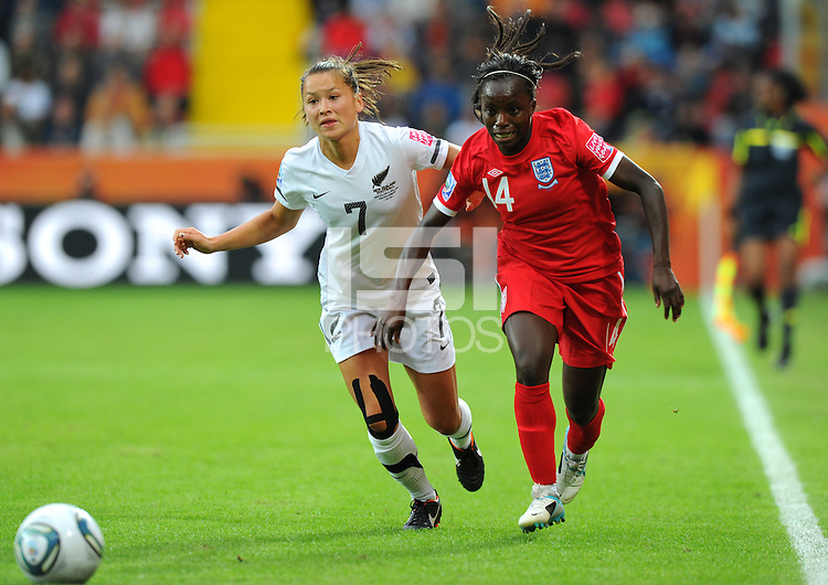 Ali Riley (l) of team New Zealand and Eniola Aluko of team England during the FIFA Women's World Cup at the FIFA Stadium in Dresden, Germany on July 1st, 2011.