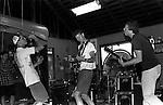 Unit Pride practice in Grant's garage. Eric Ozene, Grant McIntyre, Tim Monroe