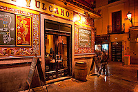 La Fragua de Vulcano restaurant with ornate tiling facade and menu, Madrid, Spain