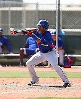 Engel Beltre #29 of the Texas Rangers plays in an extended spring training game against the Los Angeles Dodgers at the Rangers minor league complex on May 7, 2011  in Surprise, Arizona. .Photo by:  Bill Mitchell/Four Seam Images.