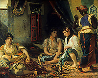 Delacroix 1798-1863.  Femmes d'Alger dans leur appartement, 1834.  Louvre.  Reference only.