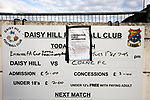 Daisy Hill 0 Colne 2, 01/09/2020. New Sirs, FA Cup extra preliminary round. An advertising sign outside the ground before Daisy Hill took on Colne in an FA Cup Extra-Preliminary round tie at New Sirs, Westhoughton, Greater Manchester. The visitors, who compete two divisions above their hosts, won this all-Lancashire match 2-0, watched by 241 spectators. The designated maximum capacity for the game had been set at 300 due to coronavirus pandemic restrictions which had recently been eased to allow spectators to attend non-League fixtures in England. Photo by Colin McPherson.