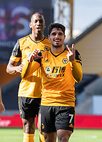 Wolverhampton Wanderers' Pedro Neto celebrates scoring his side's first goal (right) <br /> <br /> Photographer David Horton/CameraSport<br /> <br /> The Premier League - Wolverhampton Wanderers v Fulham - Sunday 4th October 2020 - Molineux Stadium - Wolverhampton<br /> <br /> World Copyright © 2020 CameraSport. All rights reserved. 43 Linden Ave. Countesthorpe. Leicester. England. LE8 5PG - Tel: +44 (0) 116 277 4147 - admin@camerasport.com - www.camerasport.com