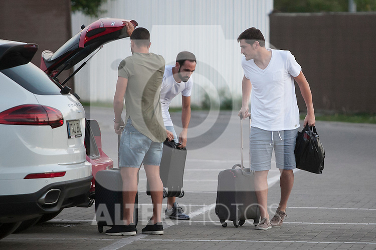 Iker Casillas, Koke and Juanfran arrive at Soccer City training facility for a Spanish soccer team concentration meeting in Las Rozas, near Madrid, Spain. September  01, 2015. (ALTERPHOTOS/Victor Blanco)