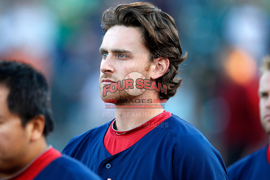 Pawtucket Red Sox third baseman Will Middlebrooks #24 during the national anthem before a game against the Rochester Red Wings at Frontier Field on August 30, 2011 in Rochester, New York.  Rochester defeated Pawtucket 8-6.  (Mike Janes/Four Seam Images)