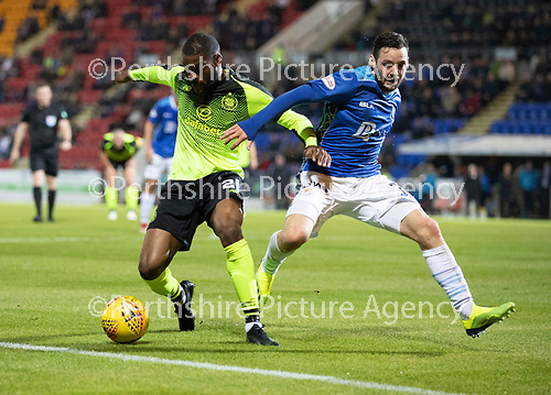 St Johnstone v Celtic…26.09.18…   McDiarmid Park     BetFred Cup Quarter Final<br />Olivier Ntcham and Drey Wright<br />Picture by Graeme Hart. <br />Copyright Perthshire Picture Agency<br />Tel: 01738 623350  Mobile: 07990 594431