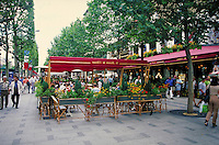 Champs Elysees in Paris, France. street scene, cafes, restaurants. Paris, France.