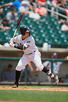 Birmingham Barons shortstop Danny Mendick (2) at bat during a game against the Pensacola Blue Wahoos on May 9, 2018 at Regions FIeld in Birmingham, Alabama.  Birmingham defeated Pensacola 16-3.  (Mike Janes/Four Seam Images)