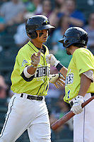 Shortstop Andres Gimenez (13) of the Columbia Fireflies is greeted by J.J. Franco after scoring a run in a game against the Rome Braves on Sunday, August 20, 2017, at Spirit Communications Park in Columbia, South Carolina. Rome won, 11-6 in 16 innings. (Tom Priddy/Four Seam Images)
