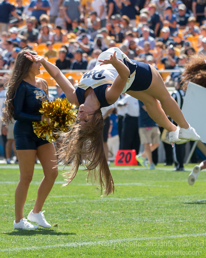 Pitt cheerleader. The Pitt Panthers defeated the Villanova Wildcats 28-7 at Heinz Field, Pittsburgh, Pennsylvania on September 3, 2016.