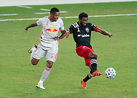 WASHINGTON, DC - SEPTEMBER 12: Jason Pendant #24 of the New York Red Bulls defends Chris Odoi-Atsem #3 of D.C. United during a game between New York Red Bulls and D.C. United at Audi Field on September 12, 2020 in Washington, DC.